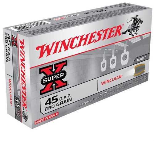 Winchester 45 Glock Automatic 45 Glock Auto, 230gr, WinClean Brass Enclosed Base, (Per 50) WC45G