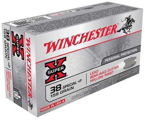 Winchester38 Special + P, 158gr, Super-X Lead Semi-Wad Cutter Hollow Point, (Per 50) X38SPD