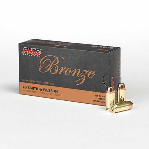 PMC Ammunition Bronze 40 S&W 165 Grains FMJ FP 50 Rounds Ammunition 40D
