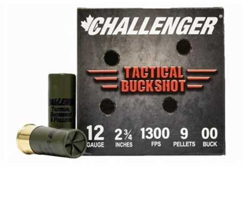 Challenger Tactical Buckshot 12 Gauge 2 3/4' 9 Pellet 00 Buck 1300 FPS 25 Rounds