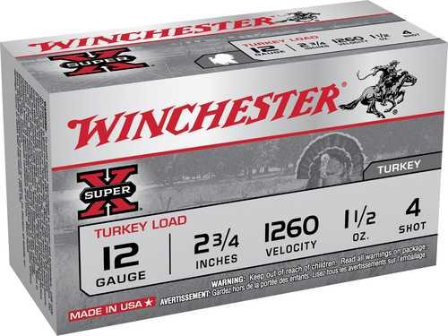 "Winchester Super-X Turkry 12 Gauge #4 Shot 2-3/4"" 1-1/2oz Copper 10 Ammunition X12MT4"