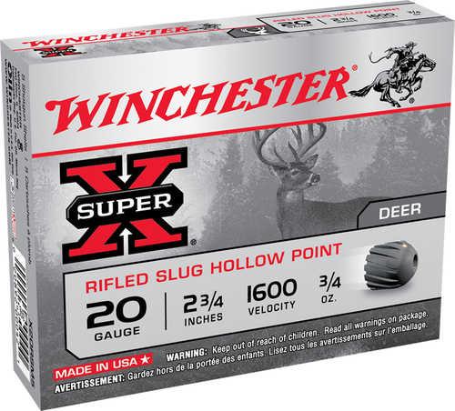 "Winchester Ammunition Super-X 20 Gauge 2.75"" 0.75 oz. Slug 5 Round Box X20RSM5"