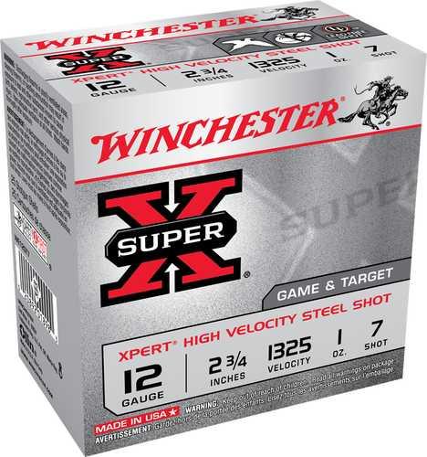 "Winchester Ammunition Xpert 12 Gauge 2.75"" #7 1oz Steel Shot Lead Free 25 Round Box WE12GT7"