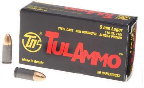 TulAmmo USA Steel Case 9MM 115 Grain Full Metal Jacket Bi-Metal Casing Non Corrosive 50 Round Box TA919150