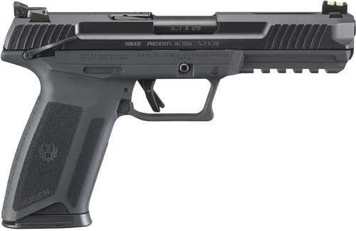 """Ruger Ruger-57 Pistol 5.7x28 mm 4.9"""" Barrel 20+1 Rounds Black Finish Fiber Optic Front Sight 16401"""