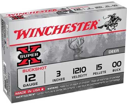 """Winchester 12 Gauge OO Buck 3"""" 15 Pellets 15/Box Ammunition XB12300VP"""
