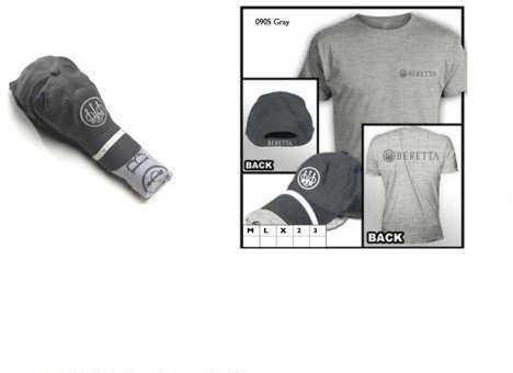 Beretta Hat & T-Shirt Roll Up Combo, Gray, Large