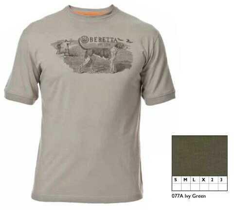 Beretta Hunting Dog Scene T-Shirt Ivy Grn Xl