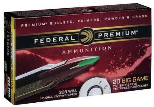 Federal Ammunition V-Shok 308 Win NKL 165 Gr 20 Rounds Per Box P308TC2