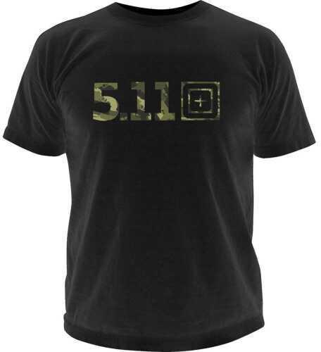 5.11 Inc Tactical Camo Logo Short sleeve Shirt Black M 41006BG019M