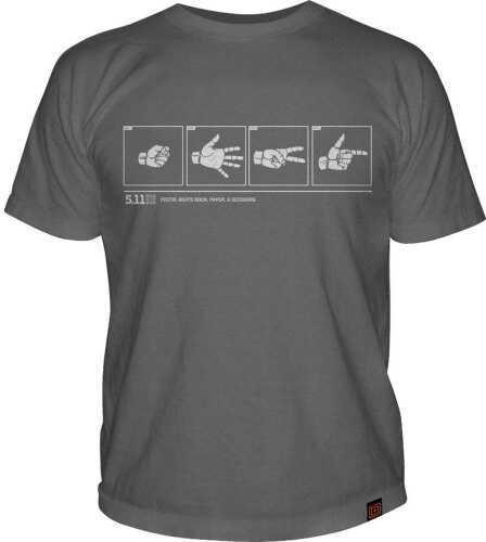 5.11 Inc Tactical Rock/Paper/PSTL Logo short sleeve Shirt CHARC M 41006BR018M