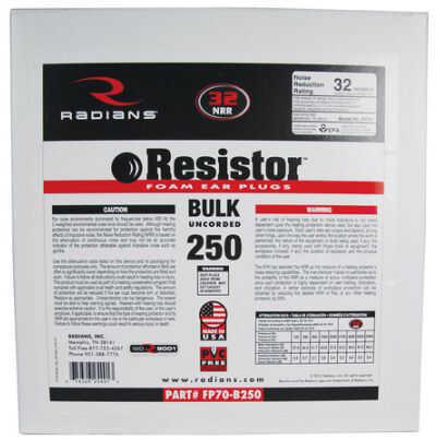 Radians Earplug Dispenser Refill Bag 250 Pairs Orange Md: FP70B250
