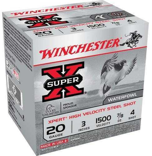 "Winchester 20 Ga. Xpert Hi-Veloctiy 3"" 7/8 oz #4 Steel Shot 25 Rounds Per Box Ammunition WEX2034"