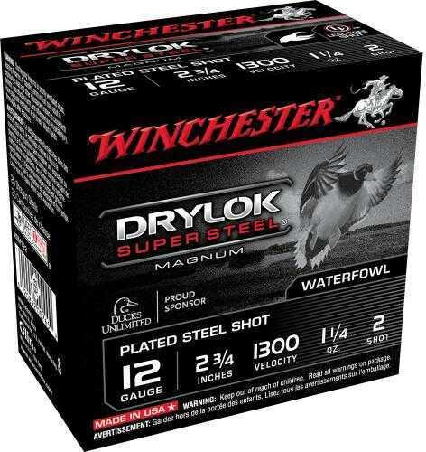"Winchester Super X Drylok Super Steel 12 Gauge, 2 3/4"", 1 1/4oz 2 Shot, (Per 25) XSM122"