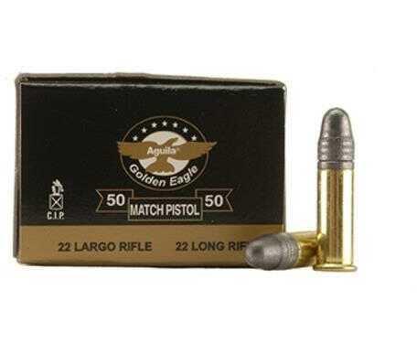 Aguila Match Pistol 22 Long Rifle 40 Grain Lead Round Nose Ammunition, 50 Rounds Per Box 1B222516