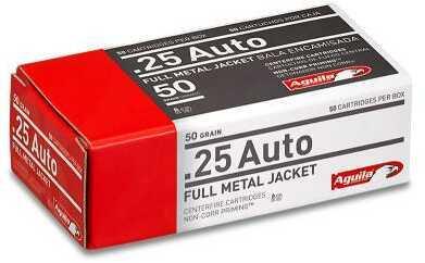 Aguila .25 ACP Full Metal Jacket 50 Grain Ammunition, 50 Rounds Per Box Md: 1E252110