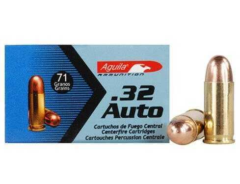 Aguila 32 ACP 71 Grain Full Metal Jacket Ammunition, 50 Rounds Per Box Md: 1E322110