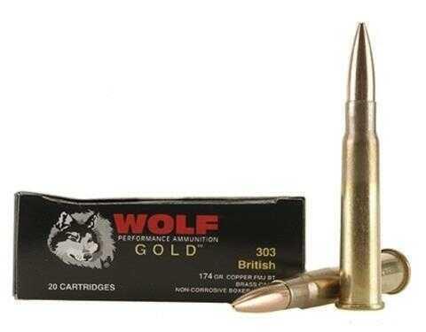Wolf Performance Ammo Wolf 303 British 174 Grain Full Metal Jacket Boxer Ammunition, 20 Rounds Per Box Md: 303BRITNFMJ