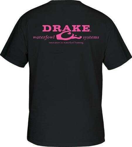 Drake Waterfowl Drake SS Logo T Shirt Black/Pink