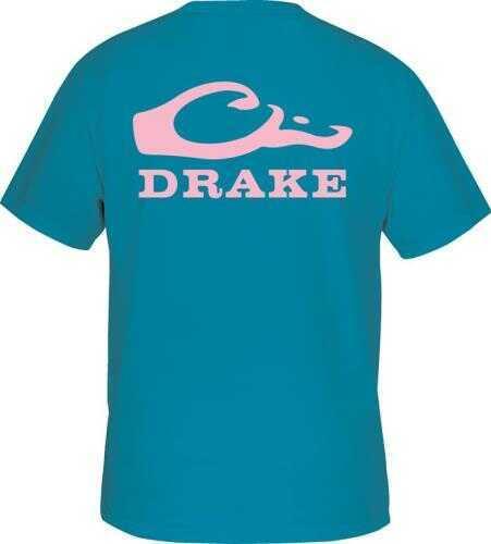 Drake Waterfowl S/S Drake Head Logo T-Shirt, Teal/Pink, Large Md: DT1961-TPN-3