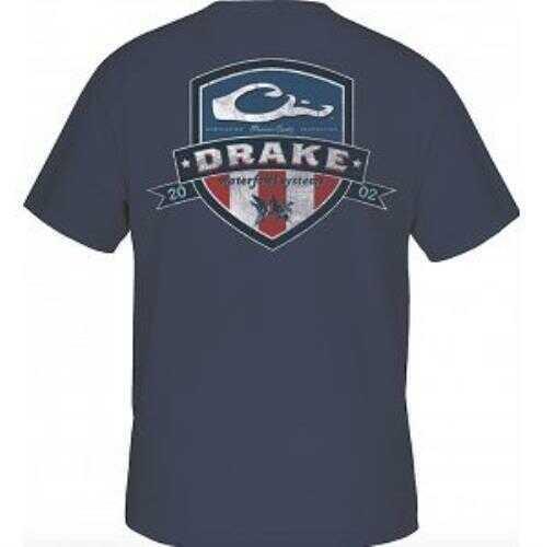Drake Waterfowl Short Sleeve Americana Shield T-Shirt, Navy, X-Large Md: DTA3010-NVY-4