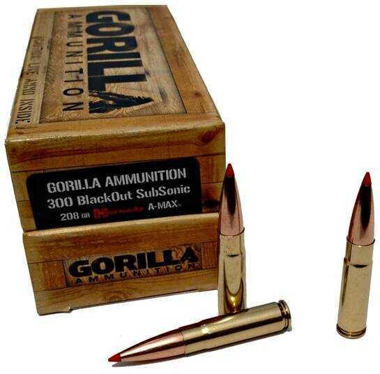 Gorilla Ammunition Company Gorilla Ammunition 300 AAC Blackout 208 Grain Horn Amax 20 Rounds Md:Ga300208AMAXSUB