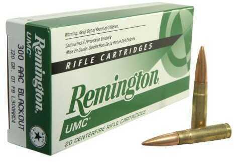 Remington UMC 300 AAC Blackout 120 Grain Open Tip Flat Base Ammunition, 20 Rounds Per Box Md: 21421