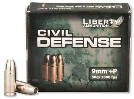 Liberty Ammunition Liberty Civil Defense 9mm +P 50gr Hollow-point Ammunition 20 Per Box