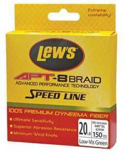 Lew's APT-8 Braid 6 Lbs Test, 150 Yards, Low-Vis Green Md: LAPTB6NGR