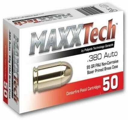 Tulammo Maxxtech Brass Case Handgun Ammunition .380 ACP 95gr FMJ 50 Rounds