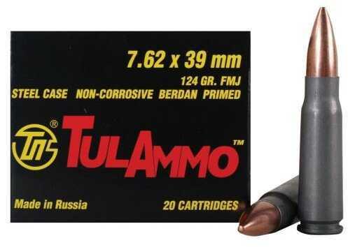Tulammo 7.62x39mm Russian 124 Grain Full Metal Jacket Bi-Metal Steal Case Berdan Primer Ammunition, 40 Round