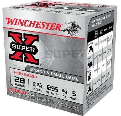 Winchester Super-X High Brass 28 Gauge 2.75 Inch 3/4 Ounce Lead #5 Shot Shotshells, 25 Per Box Md: X