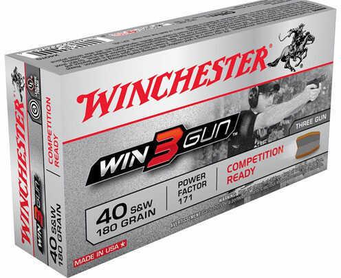 Winchester Win3Gun 40 S&W Ammo 180 Grain 50rds MN# X40TG