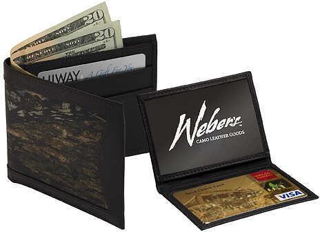 WEBER'S CAMO LEATHER GOODS Webers Combo Camo Leather Billfold Wallet Bi-Fold BrkUp/Brn 200441