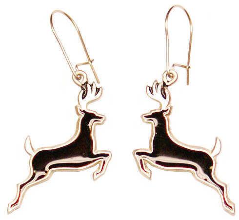 """EMPIRE PEWTER MFG CO Empire """"Deer"""" Earrings Pewter/Black 55079"""