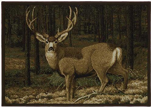 """CUSTOM PRINTED RUGS CPR Last Glance Mule Deer Nylon 37""""x52"""" 58165"""