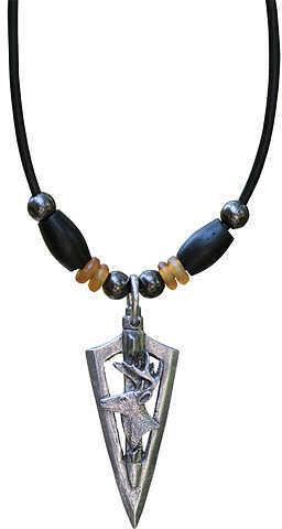 "LITTLE D DESIGN LLC Little D Buck 3D Broadhead Vertical Pendant Necklace w/Black Bone 20"" 5/8""x1 7/8"" 58708"