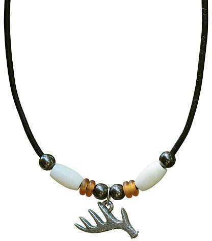 """LITTLE D DESIGN LLC Little D 5 Point Antler Pendant Necklace w/White Bone 20"""" 3/4""""x5/8"""" 58709"""