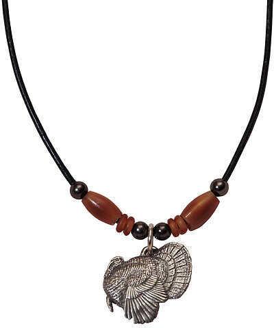 "LITTLE D DESIGN LLC Little D Full Strut Turkey Pendant Necklace w/Brown Horn 20"" 7/8""x5/8"" 58710"