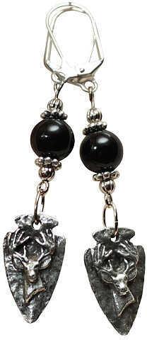 LITTLE D DESIGN LLC Little D Buck Head Arrow Earrings w/Black/Silver Accents 58718