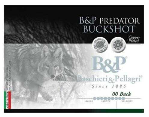 "Baschieri & Pellagri B&P High Velocity Buckshot 12 ga. 2 3/4"" 00 Buck Shot 9 pellets 1 1/5 oz 1400 FPS Shotgun Ammunition"