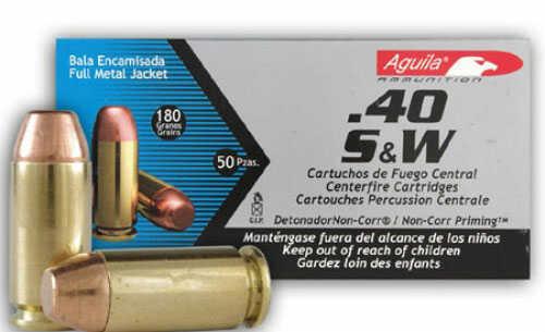 Aguila 40 S&W 180 Grain Full Metal Jacket Ammo 50per Box 1e402110