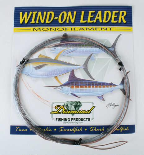 Momoi / Hi-Liner Line Diamond Mono Wind On Leader Smoke Blue 25ft 80lb Fishing Line 6-95699-90001-6
