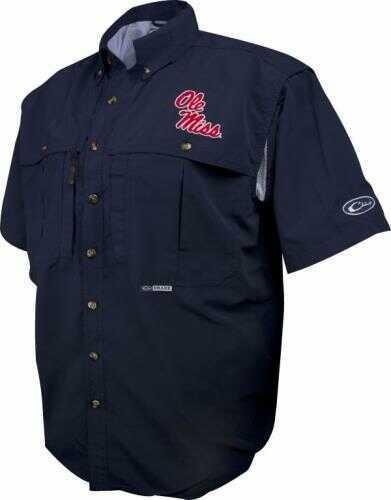 Drake Waterfowl Drake Casual Shirt Ole Miss Navy S/S Large