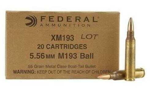 Federal Cartridge Federal Lake City Ammo 5.56 Nato 55 Gr Fmj-Bt 20 Bx Model: XM193