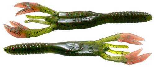 Gene Larew Salt Craw 4in 10 per bag Melon Pep Neon/O SC5314-10