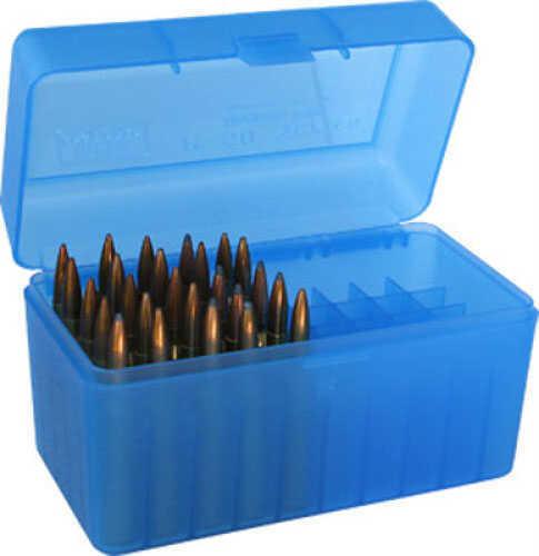MTM Ammunition Box 50 Round Flip-Top 270 Win 30-06 25-06 Clear Blue RL-50-24