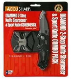 Accusharp Sport Diamond Folding Knife Black Plain Diamond Two Step & Black Sport Knife Combo Aluminum 046C