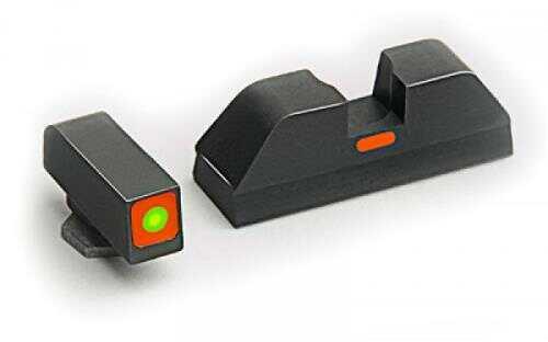 Ameriglo LLC. AmeriGlo CAP - Combative Application Pistol Sight Glk 20,21,29,30,31,32,36 Green with Orange Outline GL-617