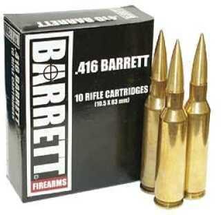 Barrett Firearms Barrett Ammo 416 Barrett 395 Gr VLD Turned Brass 10 Rounds Ammunition 12178